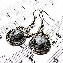 Náušnice - Ornaments & Gemstone Earrings / Bronzové náušnice s ornamentmi (Snowflake Obsidian / Vločkový obsidián) - 8953615_