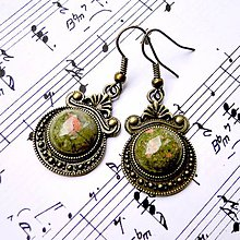 Náušnice - Ornaments & Gemstone Earrings / Bronzové náušnice s ornamentmi (Unakite / Unakit) - 8954528_