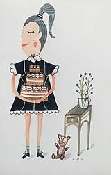 - Dievčatko s tortou ilustrácia/ originál maľba - 8952943_
