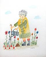 - Babička v záhrade ilustrácia / originál maľba - 8952973_