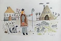 - Pastier  ilustrácia/ originál maľba - 8953066_