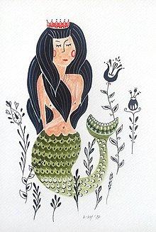 Obrazy - Morská panna ilustrácia / originál maľba - 8953046_
