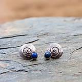 Náušnice - Strieborné náušnice - Na modrej vlne - 8954068_