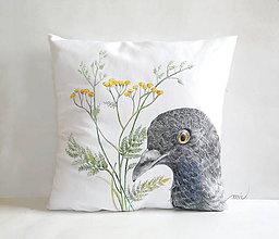 Úžitkový textil - Maľovaný poťah na vankúš holub - 8953609_