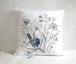 """Úžitkový textil - Maľovaný poťah na vankúš """"modrý vtáčik"""" - 8953698_"""