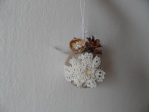 Dekorácie - vianočné gule (Béžová) - 8953541_