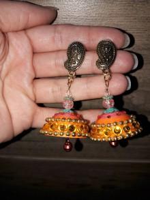 Náušnice - India náušnice orange.. - 8953679_