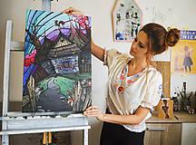 """Obrazy - Maľovaný obraz """"Folky"""" 60cm x 40cm - 8953214_"""