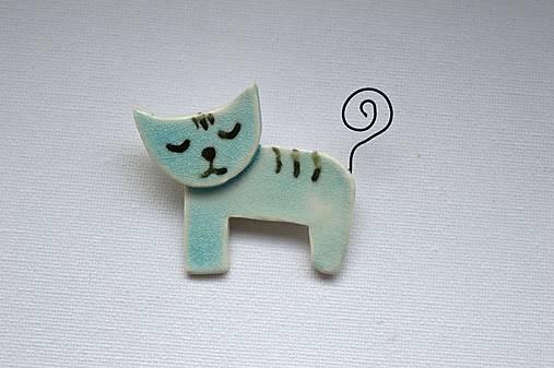 Keramická brošňa Mačička v tyrkysovom kožúšku