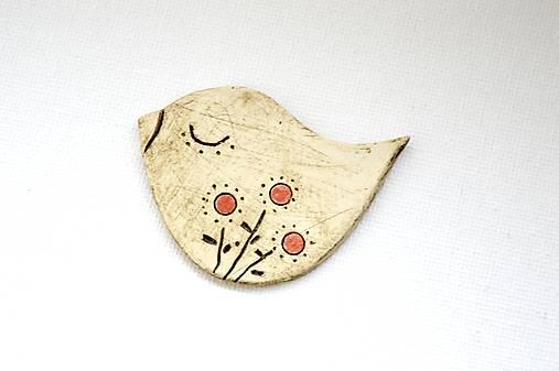 Keramická brošňa Vtáčik