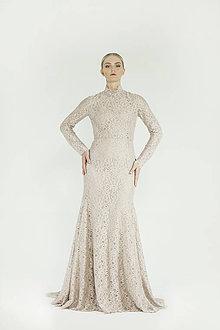 Šaty - VÝPREDAJ Béžové čipkové šaty - 8954203_