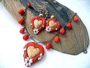 Sady šperkov - folk set s lipovými srdiečkami-makovo-červený - vianočná akcia+bez poštovného - 8952485_