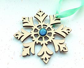 Dekorácie - Vianočná ozdoba: snehová vločka (1 ks) - 8952910_
