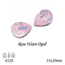 Korálky - SWAROVSKI® ELEMENTS 4320 Pear Rhinestone - Rose Water Opal, 14x10, bal.1ks - 8954391_