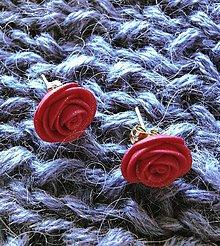 Náušnice - Mini Ruže (rubínové) - 8952628_