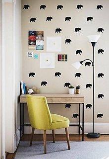 Dekorácie - Nálepky na stenu - Škandinávsky štýl - Medvede (Ľadovo modrá) - 8953250_