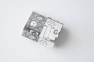 Peňaženky - Peňaženka malá čierno-biele mačky - 8955239_