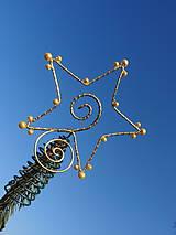Dekorácie - zlatá hviezda Vianoc...špic na stromček - 8957033_