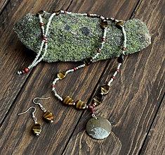 Sady šperkov - Boho set náhrdelník s fosílou Amonit + náušnice - 8956456_