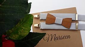 - Pánsky set- drevený motýlik a traky - 8956527_