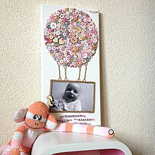 Detské doplnky - Gombíkový obraz - Balón s fotkou pastelový - 8956493_
