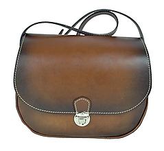 Kabelky - Rustikálna kožená kabelka  ručne tieňovaná - 8956547_