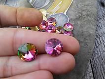 - Rivolka - sklenený kabošon (Ružovo-zelené) - 8956513_