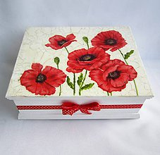 Krabičky - Drevená krabica -vlčie maky 2 - 8957377_