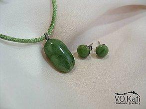 Sady šperkov - Talia - zelená sklenená sada s chir. oceľom - 8958029_
