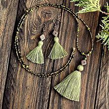 Sady šperkov - Strapcová sada v olivovej zelenej - 8957497_