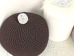 Úžitkový textil - Háčkovaný PUF čokoládový - 8957295_