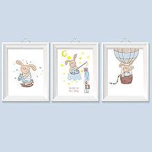 Detské doplnky - 3 seria personalizovaných obrazov do detskej izby s motívom zajka - 8957728_