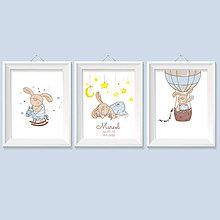 Detské doplnky - Personalizovaná 3 séria obrazov do detskej izby pre chlapca so zajacom - 8957734_