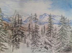 Kresby - zimný výhľad... - 8957372_
