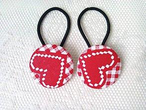 Ozdoby do vlasov - BonBon gumičky – buttonky (red hearts) - 8959789_