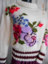 """Svetre/Pulóvre - """"Romantik FLORAL"""" vyšívaný pletený pulóver z mohéru - 8959242_"""