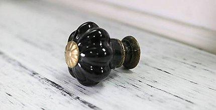 Komponenty - Porcelánová úchytka čierna - 8959357_