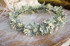 Ozdoby do vlasov - Kvetinový venček ,,zasnežený,, - 8959526_