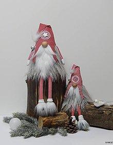 Dekorácie - Zimní škriatkovia - červený párik - 8959822_