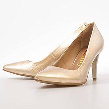 Obuv - Zlaté kožene lodičky - 8960379_
