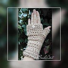 Rukavice - Háčkované rukavice v béžovej farbe - 8962042_