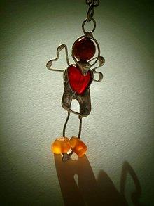 Náhrdelníky - Červený anjelik - koral,achát, tiffany - 8963631_