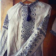 Košele - vyšívaná ľanová blúzka Modra - 8965035_