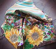 Šály - Smiech pod slnečnicou- hodvábny maľovaný šál - 8965000_