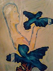 Obrazy - Dievča a holuby......2 - 8965045_