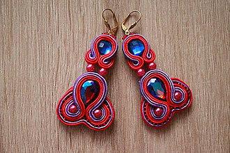 Náušnice - Fialovo-červené náušnice - 8966215_