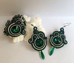 Sady šperkov - Ručne šité šujtášové náušnice / Soutache earrings Glenda - swarovski - 8966961_