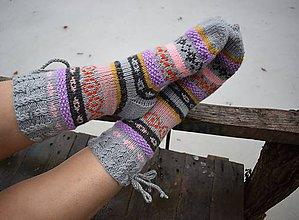 Obuv - šedé ponožky vypletané s nórskym vzorom (v.39-40) - 8966687_