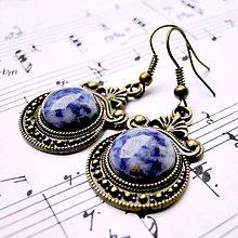 Náušnice - Ornaments & Gemstone Earrings / Bronzové náušnice s ornamentmi (Sodalite / Sodalit) - 8968214_