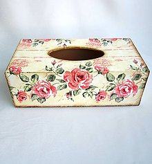 Krabičky - Krabica na vreckovky-vintage ruže - 8969641_